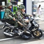 Military police on bikes are everywhere to be seen in Thailand these days.